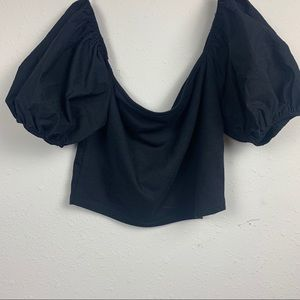 Zara puffy sleeve black crop top